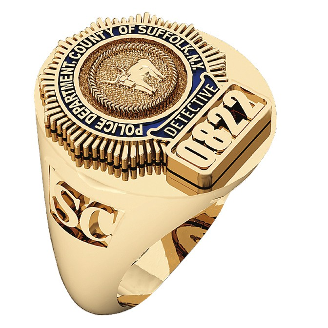Mens Suffolk County PD Detective Deep Cut Oval Ring 1