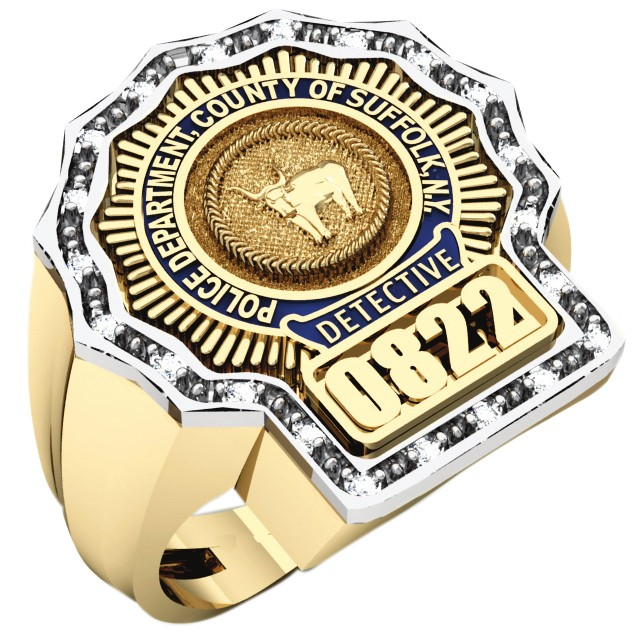 Mens Suffolk County PD Detective Diamond Edge Shield Ring 1