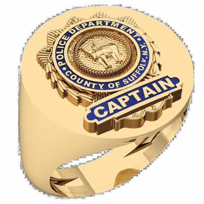 Mens Suffolk County PD Captain Oval Signet Shield Ring 1