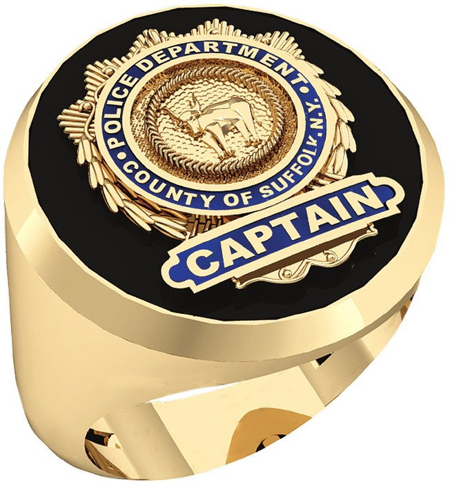 Mens Suffolk County PD Captain Shield Black Onyx Oval Ring 1