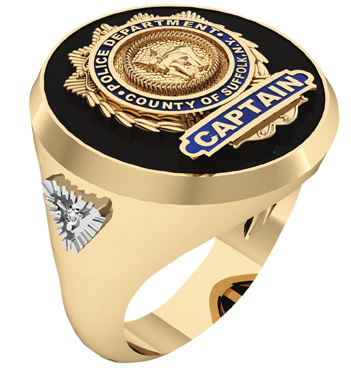 Mens SCPD Captain Ring with Diamond Accent 1