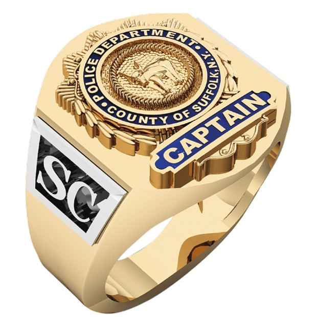 Mens Suffolk County PD Captain Deep Carved Shield Ring 1