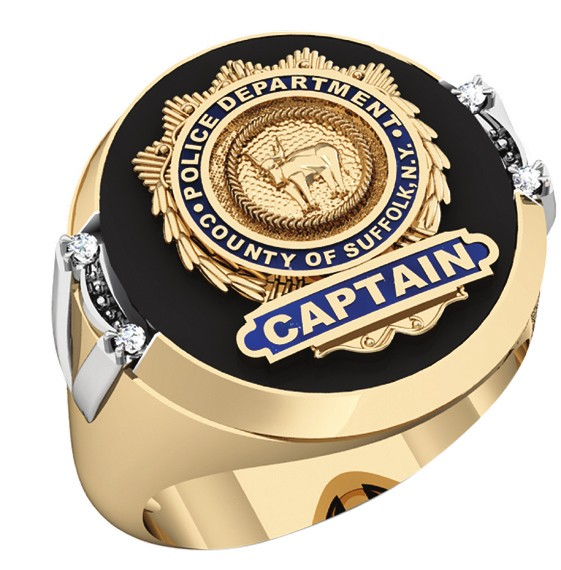 Mens Suffolk County PD Captain Shield Black ONYX Oval Ring with Framed Diamond Accents 1