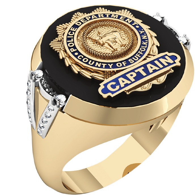 Mens SCPD Captain Ring with Side Diamonds 1