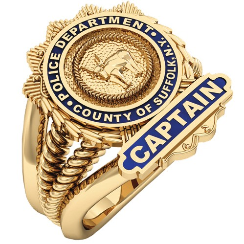 Womens Suffolk County PD Captain Shield  Ribbed Delicate Side Design Ring 1