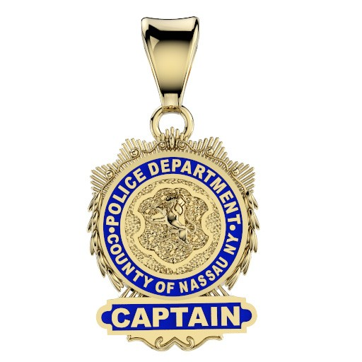 Nassau County PD Captain Pendant - Nickel Size Pendant 1