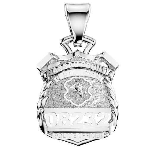 Nassau County PD Police Officer Pendant - Nickel Size Pendant 1