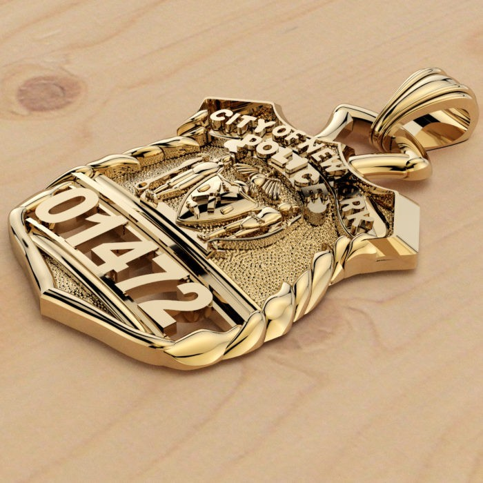 NYPD Police Officer Pendant  - Nickel Size 2