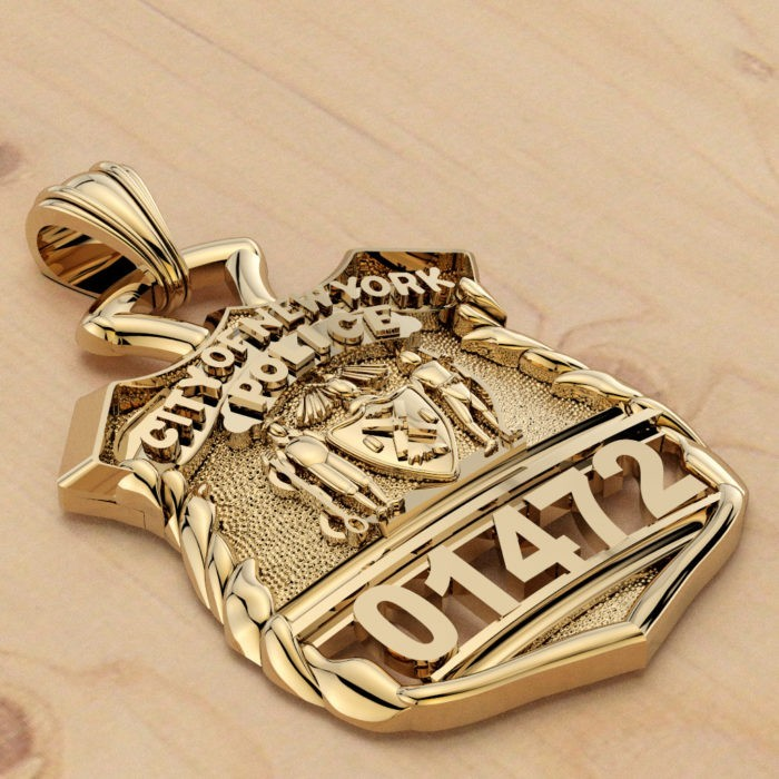 NYPD Police Officer Pendant  - Nickel Size 3