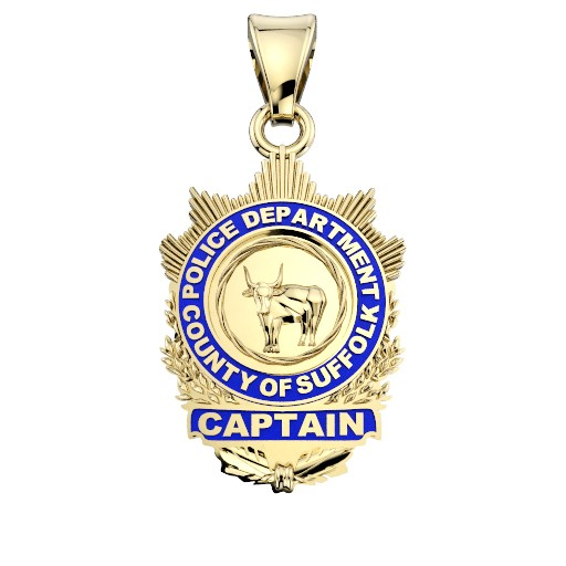 Suffolk County PD Captain Pendant - Nickel Size Pendant 1