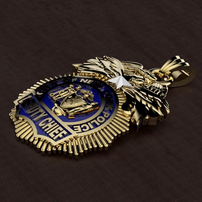 NYPD Deputy Chief Pendant - Quarter Size 3