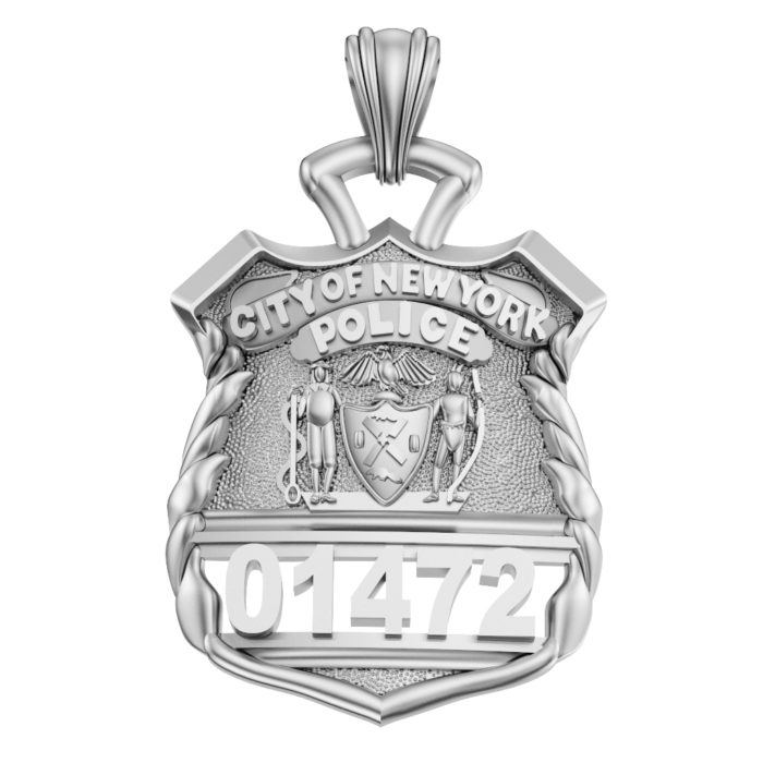 NYPD Police Officer Pendant  - Nickel Size 1