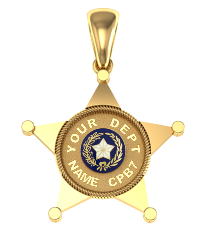 Custom 5 Point Sheriff's Style Shield  - Penny Size Pendant 2