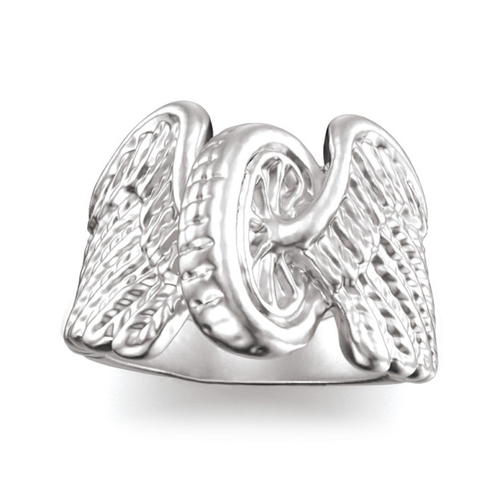 Plain Sterling Silver Winged Wheel Ring 2