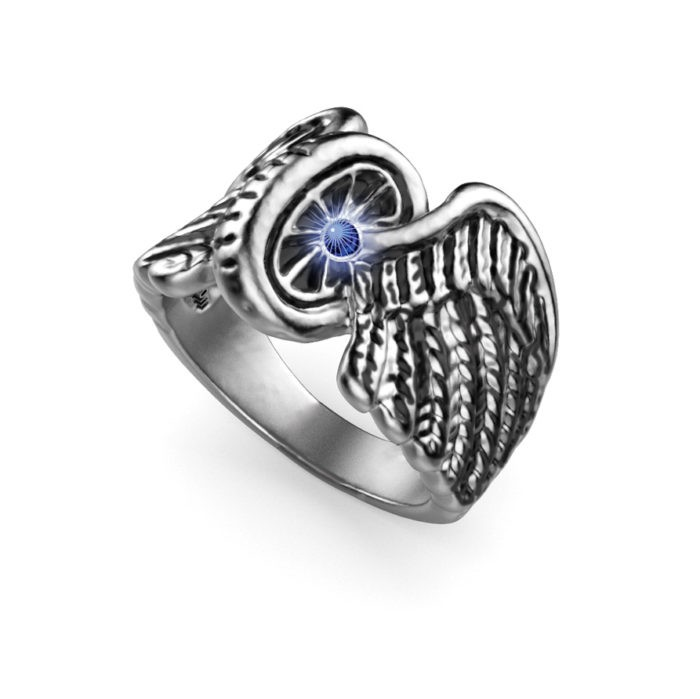 Syn. Sapphire Sterling Silver Winged Wheel Ring 1