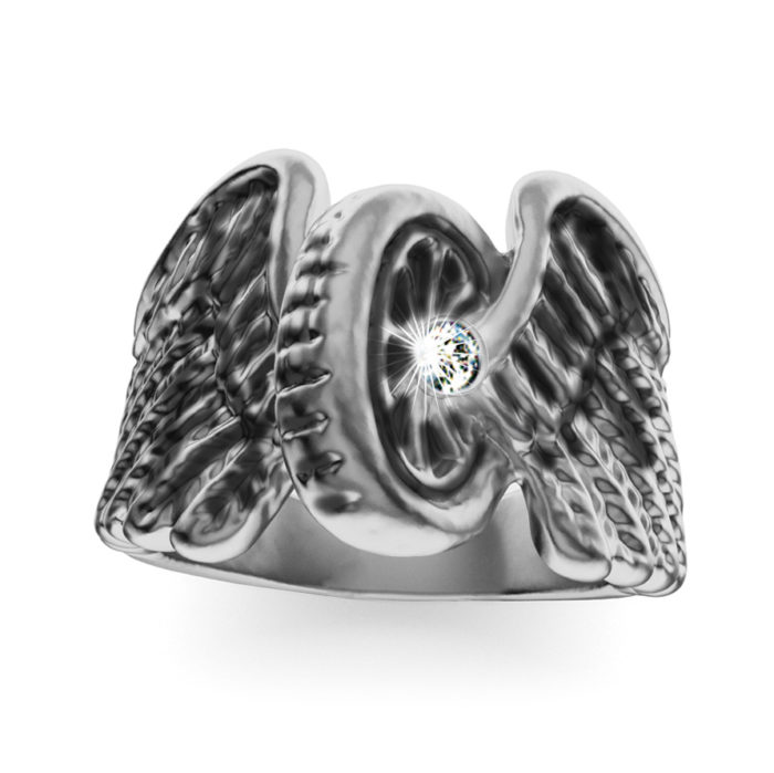 Brilliant Diamond Sterling Silver Winged Wheel Ring 2