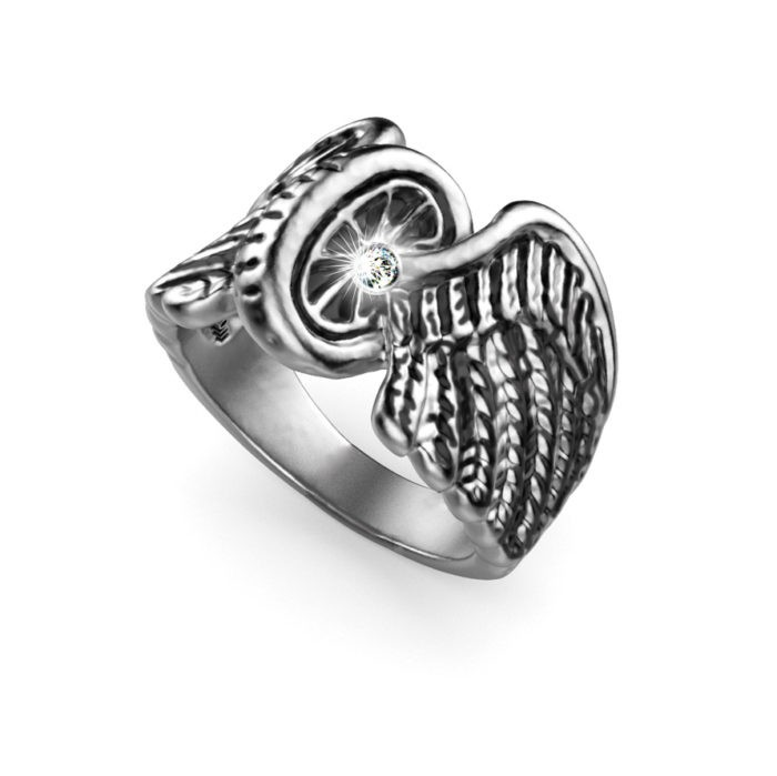 Brilliant Diamond Sterling Silver Winged Wheel Ring 1