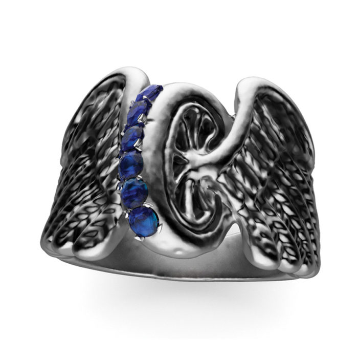 Multi-Stone Sterling Silver Winged Wheel Ring 2