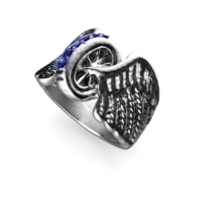 Multi-Stone Sterling Silver Winged Wheel Ring 1