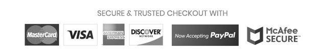 Secure and Trusted Checkout with Mastercard Visa AMEX Discover Paypal McAfee Secure
