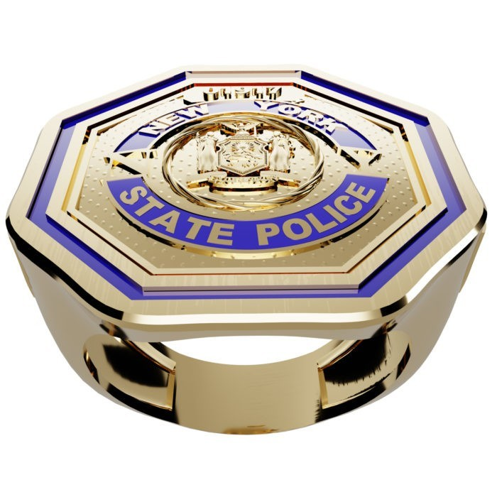 Men's New York State Police Thin Blue Line Ring 3