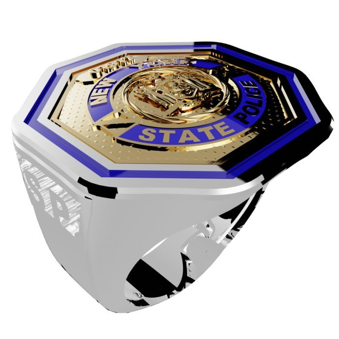 Men's New York State Police Thin Blue Line Ring 4