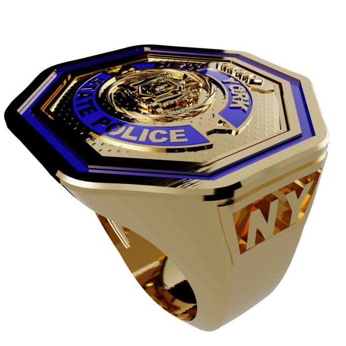 Men's New York State Police Thin Blue Line Ring 2